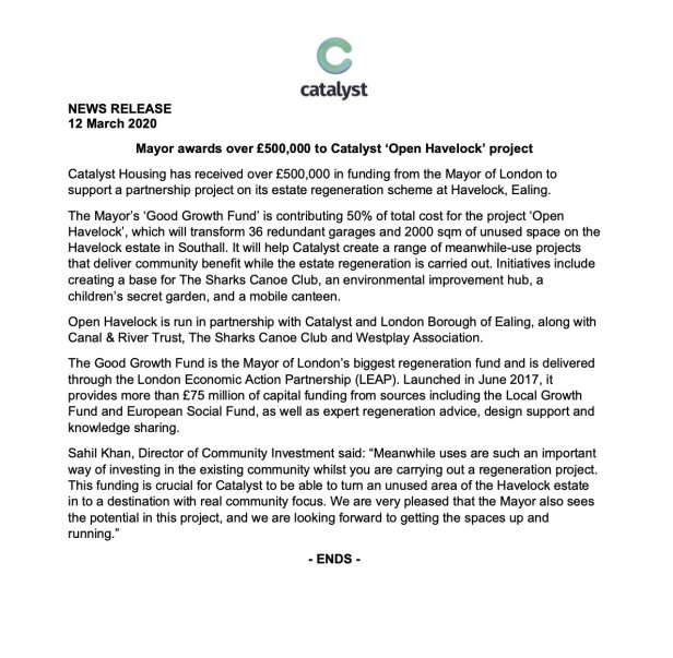 News Release - Mayor awards over 500000 to Catalyst Open Havelock project 1
